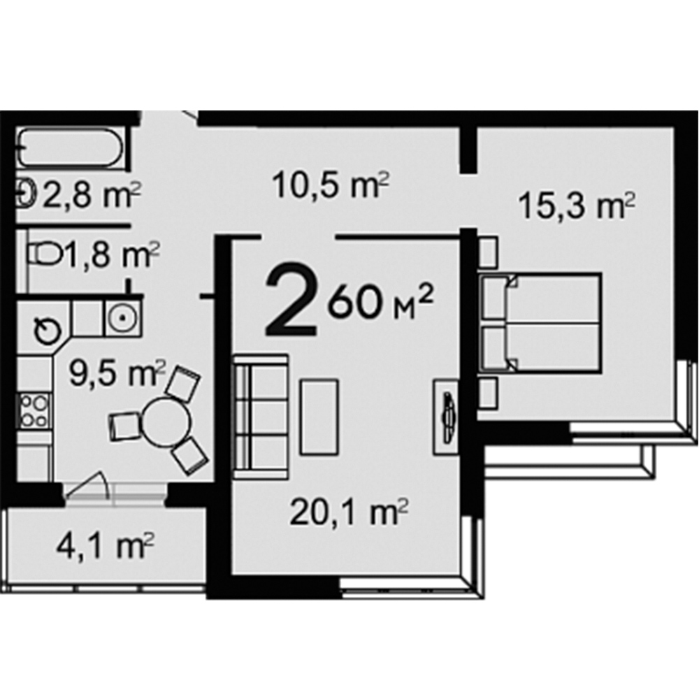 2-Комнатная, 60 м²