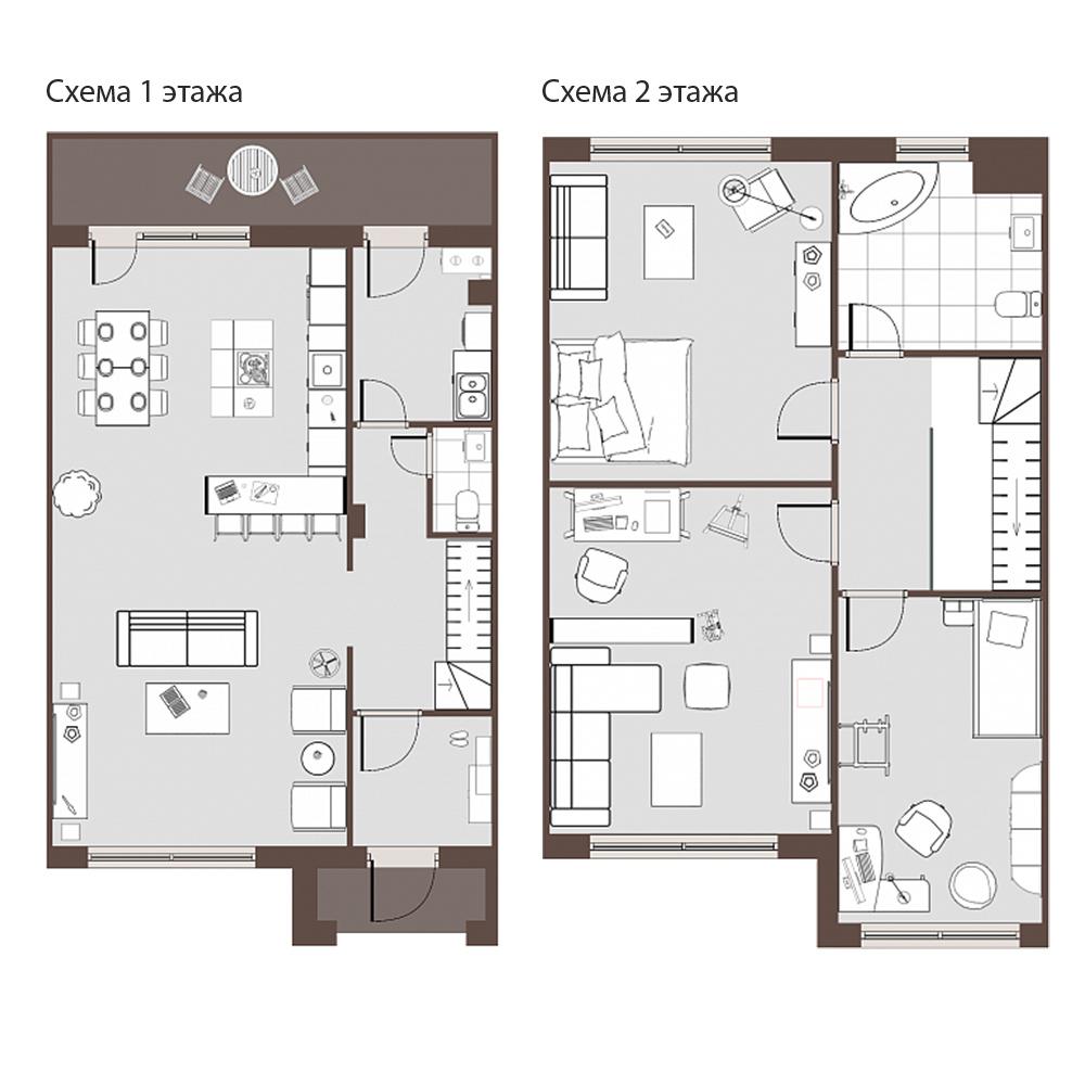 2-этажный таунхаус, 123 м²