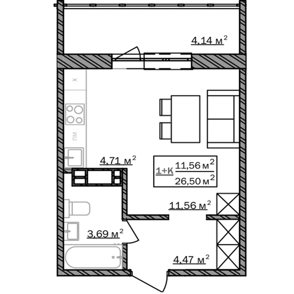 Квартира-студия, 26,5 м²