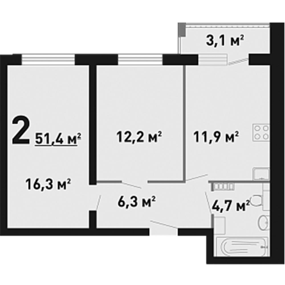2-Комнатная, 51,4 м²